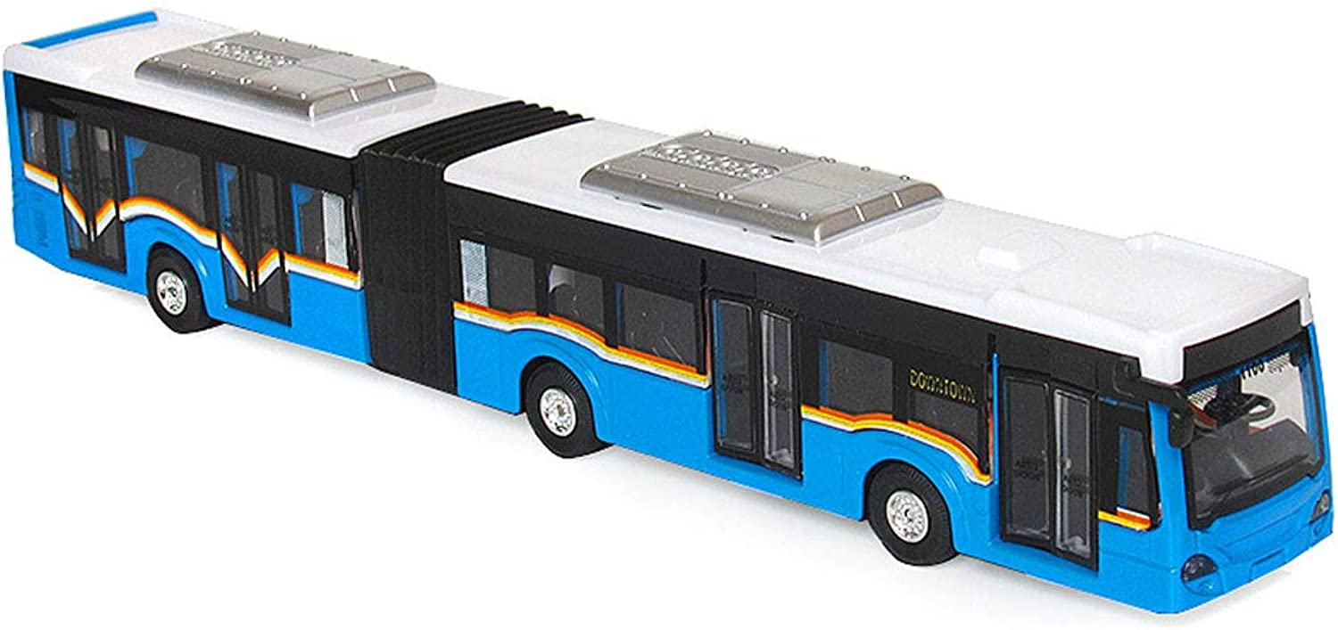 Bus Extended Toy DoubleSection City Fast Bus Voice Sound and Light Pull Back Car Model (color   bluee)