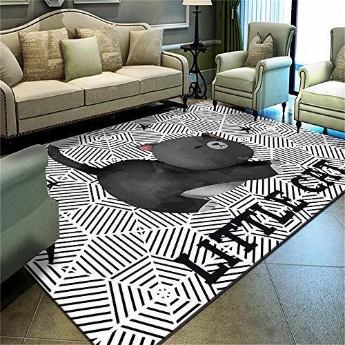 WQ-BBB Alfombra Habitacion Antideslizante Linda Tela de araña Creativa y diseño de patrón de Gato Negro Blanco alfombras Salon 200X300cm