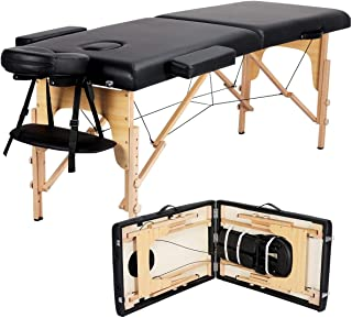 Yaheetech Massage Table Portable Massage Bed Massage Therapy Table Spa Bed 84 Inch Adjustable 2 Fold Salon Bed Face Cradle...