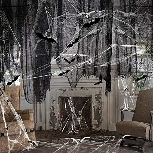 Halloween Spinnennetz Deko Set Stoff Dekostoff Tuch Decke Horror Halloweenstoff Schwarz 150 x 300 cm mit 60g Spinnenweben 60 Spinnen und 12 Fledermäuse für Kamin, Fenster, Türen Wand Tisch Deck