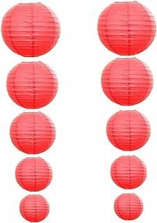 Kinteshun Folding Paper Lantern Reusable Chinese/Japanese Style Decorative Hanging Lamp Cover(Red,10pcs Assorted Sizes)