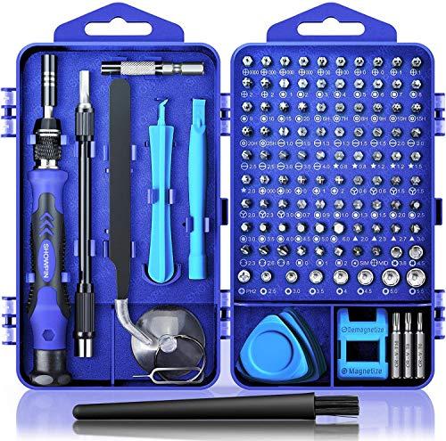 Juego de destornilladores de precisión, 122 en 1, kit de herramientas magnéticas de reparación con funda para reparación de ordenador, PC, teléfono móvil, consola de juegos, reloj, gafas, etc. (azul)…