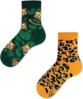 Many Mornings, Calcetines niña y niño El Leopardo Kids con un tigre, parches, selva, animales salvajes
