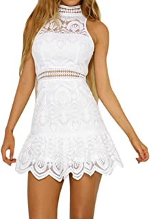 e2e7b2af19e Alixyz Women Sundress Lace Stitching Mini Dress Summer Backless Evening  Party Beach Dress