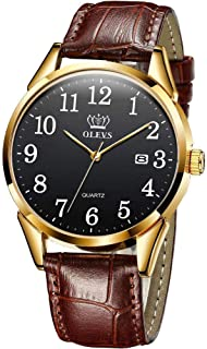 Mens Wrist Watch - Easy Reader Date - Breathable Brown Leather Strap - Waterproof Casual Quartz Analog Wristwatch