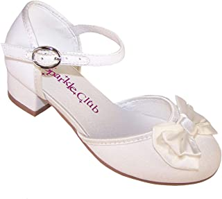 37cc3d07dd366 Girls  Ivory Sparkly Fabric Flower Girl Bridesmaid and Wedding Shoes Mary  Jane