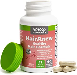 HairAnew (Unique Hair Growth Vitamins with Biotin) - Tested - for Hair, Skin and Nails - Women and Men - Addresses Vitamin Deficiencies that Could be the Cause of Hair Loss or Lack of Regrowth (1)