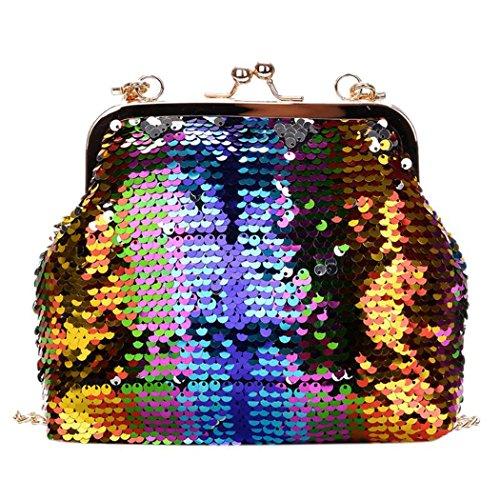 HANMAX Pailletten Clutch Damen Abend Handtasche Elegant Handtaschen Luxus Kette Schultertaschen