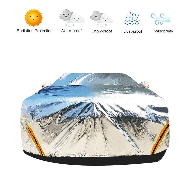 処方するバーガー一時解雇するLSXIAO 車のカバー 防雨/UV/風/ほこり/日焼け止め/傷防止 アルミフィルム 反射警告ストリップ ジッパー ミラーポケット 屋外ガレージ、3サイズ (Color : Silver, Size : S-400x160x120CM)