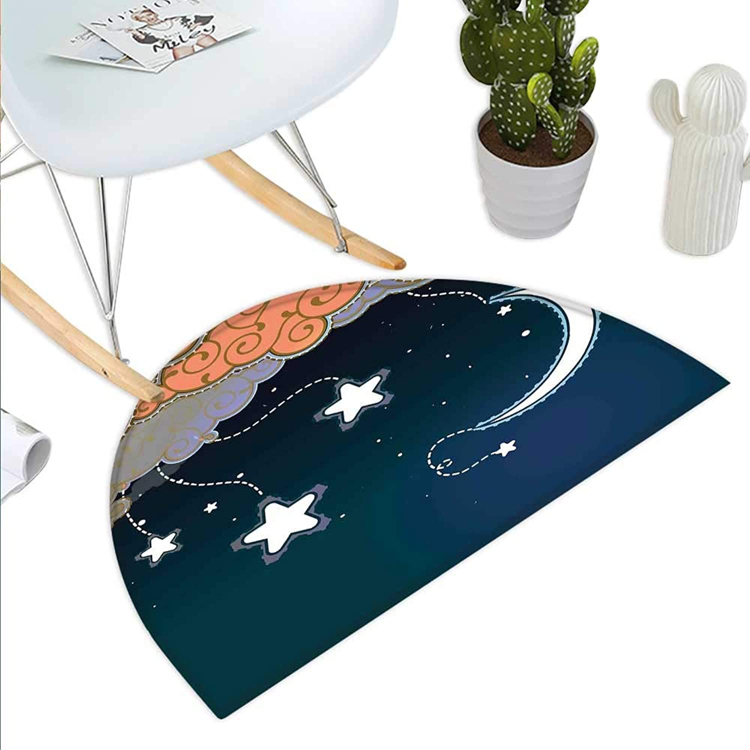 Kids Semicircle Doormat Cartoon Style Night Sky with Swirled Clouds Stars and Moon Dotted Lines Halfmoon doormats H 43.3  xD 64.9  Dark bluee White Salmon