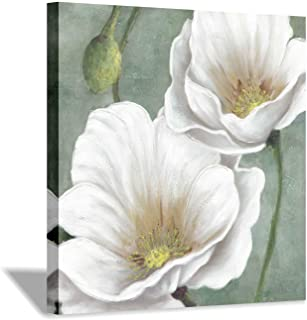 Hardy Gallery White Floral Canvas Painting Artwork: Abstract Lotus Flower Painting Wall Art for Bedroom (24'' x 24'' x 1 Panel)