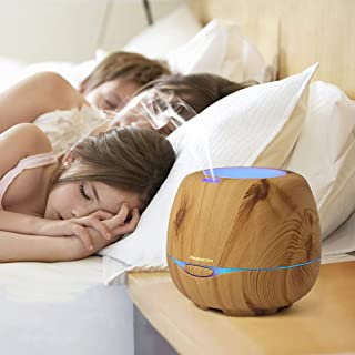 Aromacare Essential Oil Diffusers, 300 Milliliters, Brown Wood Grain, with Color Changing LED Lights, Waterless Auto Shut-Off for Baby Room Bedroom and Office