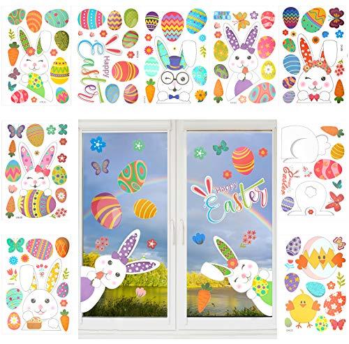 LOPOTIN 9PCS Vetrofanie per Il Giorno di Pasqua, Uova Decorative Adesive, Adesivi Pasquali, Adesivi in Cristallo Elettrostatico per Decorare Disegno di Carota Farfalla Cristallo Flor Buona Pasqua.