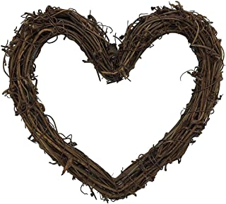 queenland Natural Grapevine Wreath Heart Shape Rustic DIY Wreath Crafts Base for Christmas Wreath Door Garland Wedding Party Home Decoration Hanging Wreath 12 inches