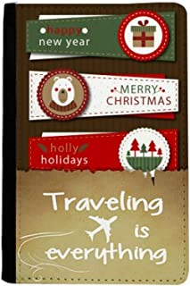 Merry Christmas Colorful Board Illustration Traveling quato Passport Holder Travel Wallet Cover Case Card Purse