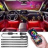 Luci interne per auto, Speclux 4 pezzi 72 LED Luce di striscia per auto aggiornata Bluetooth APP Kit di illuminazione RGB multi colore controllato (con caricabatteria per auto)