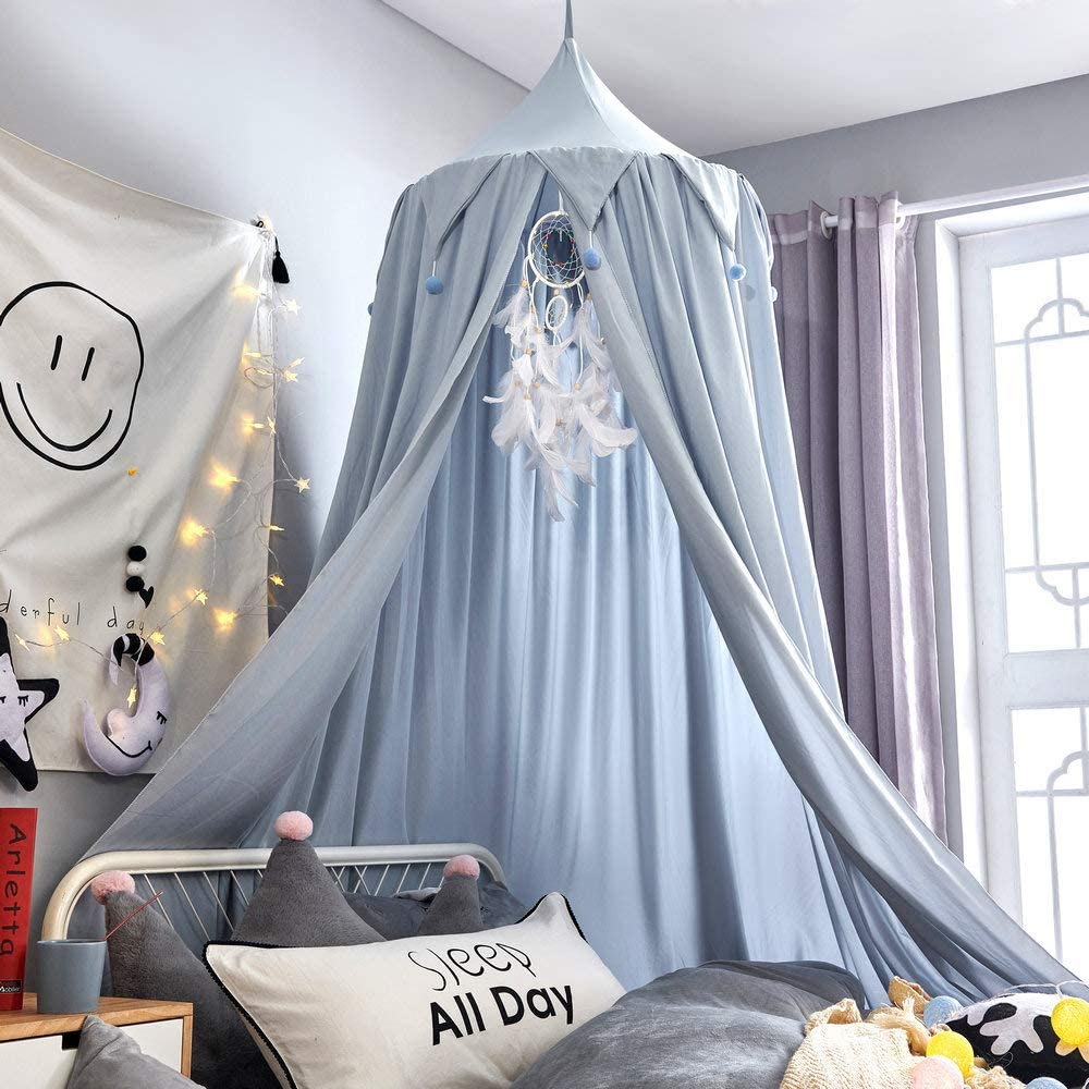 Mybbrm Princess Canopy for Girls Bed with Tassels Hideaway Tent for Kids Rooms or Cribs Nursery for Decoration, Playing,Reading,Sleep as Hanging House Castle (Smoky Blue)