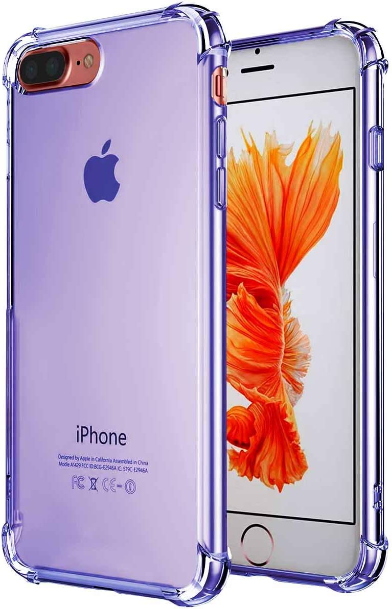 Case Compatible for Apple iPhone 7 Plus and iPhone 8 Plus 5.5 Inch case, Crystal Clear Soft TPU Reinforced Corners TPU Bumper Cushion Cover Full Protective Bumper -Blue