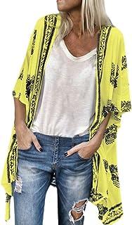 Womens Fashion Boho Printed Sunscreen Half Sleeve Loose Sheer Chiffon Cardigan