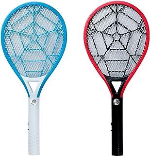 Chlry 2 Piezas Recargable Raqueta electrico Mata Mosquitos Matamoscas, con Enchufe Oculto y Luces LED, Evitar el diseño de Choque eléctrico, Seguro, antimosquitos Bug Zapper