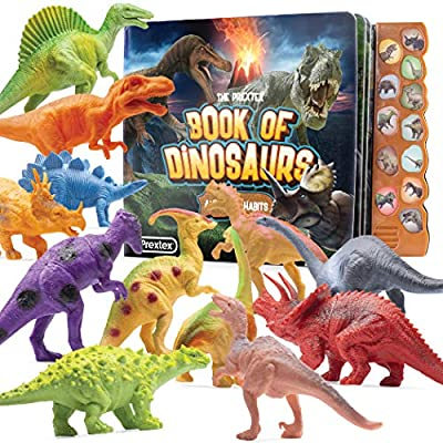 Prextex Realistic Looking Dinosaur with Interactive Dinosaur Sound Book - Pack of 12 Animal Dinosaur Figures with Illustrated Dinosaur Sound Book Toys for Boys and Girls 3 Years Old & Up