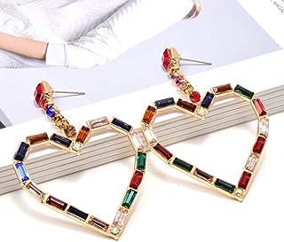 Erin Earring Accessori di Gioielli da Donna in Cristallo con Orecchini Lunghi A Forma di Cuore con Strass Colorati