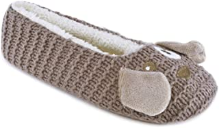 DINZIO Ladies Cat Dog Knitted Ballet Slippers