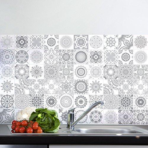 60 tegelstickers | stickers zelfklevende tegels – mozaïek tegels wandtattoo badkamer en keuken | tegellijm – nuance-grijs – 10 x 10 cm – 60-delig