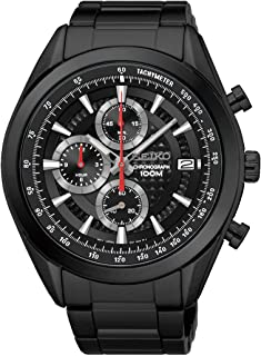 Seiko SSB179P1 Men's Quartz Chronograph Watch with Black Dial and Black Plated Steel Strap