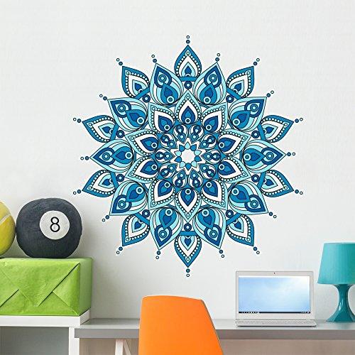 Decorative Blue Mandala Wall Decal Wallmonkeys Peel and Stick Graphic (36 in H x 34 in W) WM376331