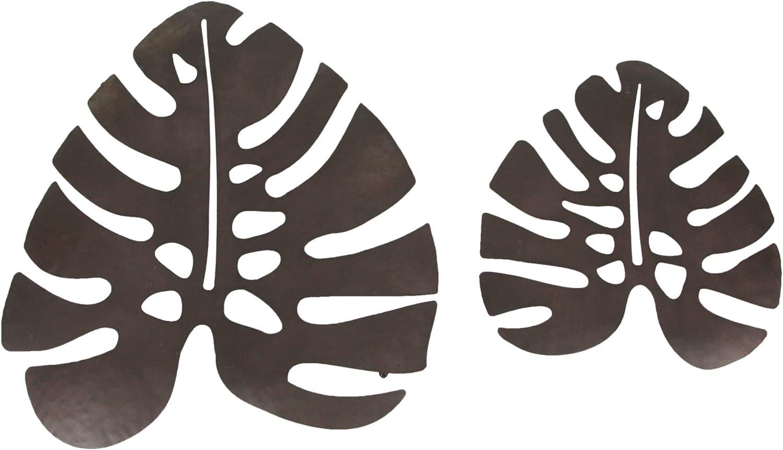 Set of 2 Antiqued Brown Metal Monstera Leaf Sculptures Wall Hanging Tropical Decor