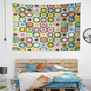 HuaWuChou Cubes Inner Circles Tapestry Wall Hanging Tapestries, Wall Blanket Wall Art for Living Room Bedroom Home Decor, 92.5W x 70.9L Inches