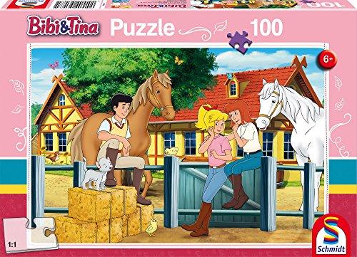 Schmidt Spiele Martinshof, 100 Teile Kinderpuzzle Bibi & Tina 56187, rosa