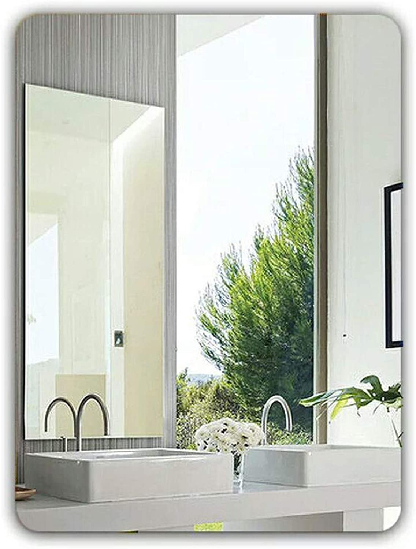 YANZHEN Mirror Wall-Mounted Frameless Car Engraved Hypotenuse Bathroom Simple Circular Make Up Silver Mirror, 5 Size (color   Silver, Size   40X60cm)