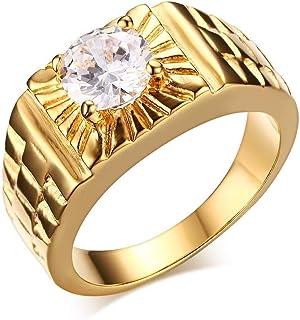 Vioness Bague Anneau Homme Femme en Acier Inoxydable Solitaire Diamant Stries Plaqu/é Or Alliance Fian/çailles Mariage Bijoux
