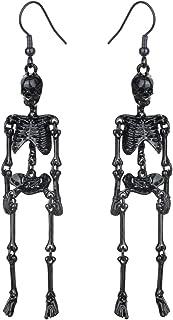 Szxc Women's Jointed Skeleton Dangle Long Earrings - 3-1/2 Inch - Ultra Light - Lead & Nickle Free - Halloween Costume Acc...