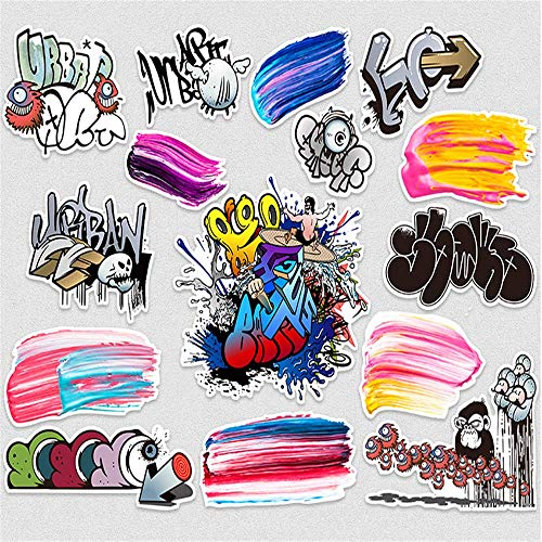 WOCAO Graffiti Suitcase Stickers Trolley Suitcase Waterproof Stickers Skateboard Guitar Personality Trendy Brand 15Pcs