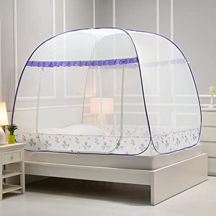 南极人 蒙古包蚊帐免安装三开门加密加厚1.5米1.8m床有底拉链/无底 【有底】树影-紫色 1.8m(6英尺)床