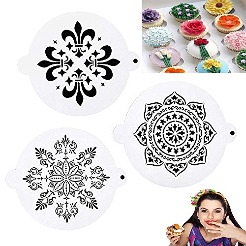 DECORA 3 Pieces Floral snowflake Cake Cake Decorating Stencil Mold Wedding Cake Stencil