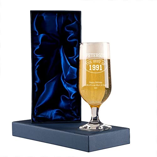 Personalised Best Of Year Engraved Beer Glass With Presentation Box 18th 21st Birthday