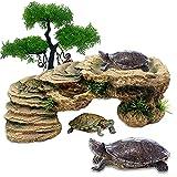 GerTong Tortuga Plataforma 2 piezas de resina ajustable simulación paisaje piedra y árbol simulado Tortugas plataforma rectangular acuario tanque accesorios para reptiles