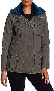 Rachel Roy 人造革领实用和衬里夹克派克大衣 - 深橄榄色