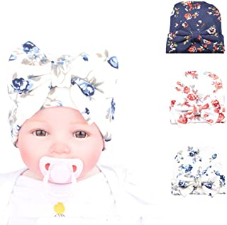 Ademoo Newborn Baby Girls Nursery Beanie Hospital Hat with Bow
