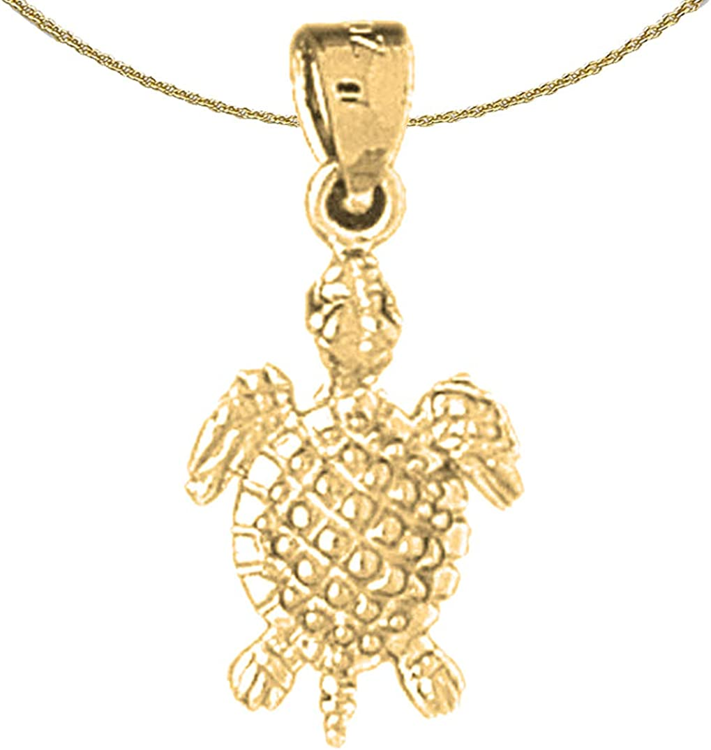 Jewels Gifts Topics on TV Obsession 14K Yellow Gold Pendant with Turtles Neckla 18