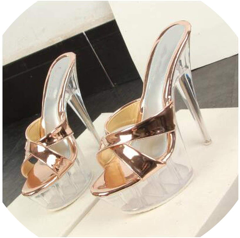 Kvinna Slippers bröllop Sandals Sandals Sandals Nattklubb Sexy Transparer Heel 14.5Cm skor Platform sommar Pumps Party skor  skön