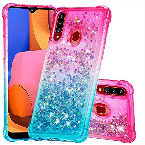 Funda para Samsung Galaxy A20S Liquida Glitter Brillante Bling Carcasa Transparente Purpurina Cristal Bumper Niñas Mujeres Arena Movediza Case Cover para Samsung A20S Funda (Rosa/Azul)