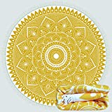 AXEF Round Beach Towel Superfine Fiber Bohemian Pure Yellow Beach Blanket Camping Mat Picnic Mat Soft with Tassel 63 Inches in Diameter Multipurpose Towel