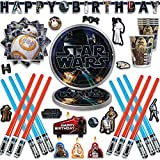 Star Wars Classic Birthday Party Supplies Pack And Favors For 12 With Lightsabers, 152 Stickers, Birthday Candles, Plates, Cups, Napkins, Birthday Banner and an Exclusive Porg Pin, by Another Dream