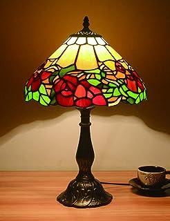 12 pouces Vintage pastorale magnifiques fleurs vitrail lampe de table lampe de chambre lampe de chevet