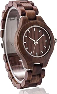 Handmade Wood Watch for Man or Woman - OMELONG Lightweight Wooden Wrist Watch with Japan Quartz Movement Gold Circles on Round Dail